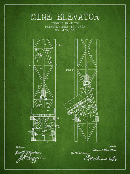 Elevators Wall Art - Digital Art - Mine Elevator Patent From 1892 - Green by Aged Pixel