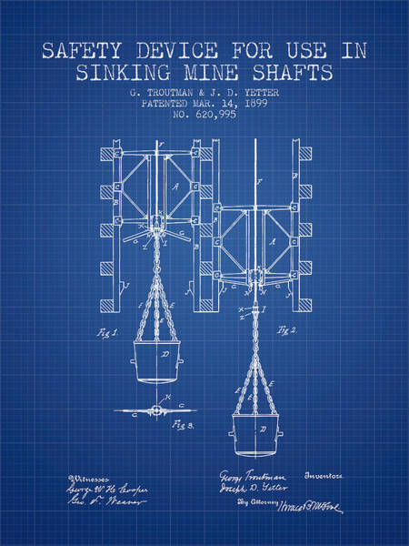 Shaft Wall Art - Digital Art - Mine Shaft Safety Device Patent From 1899 - Blueprint by Aged Pixel