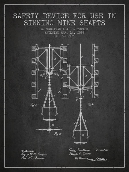 Shaft Wall Art - Digital Art - Mine Shaft Safety Device Patent From 1899 - Charcoal by Aged Pixel