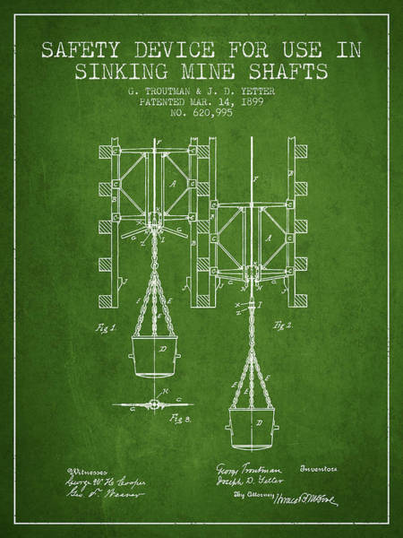 Shaft Wall Art - Digital Art - Mine Shaft Safety Device Patent From 1899 - Green by Aged Pixel