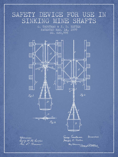 Shaft Wall Art - Digital Art - Mine Shaft Safety Device Patent From 1899 - Light Blue by Aged Pixel