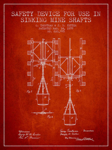 Shaft Wall Art - Digital Art - Mine Shaft Safety Device Patent From 1899 - Red by Aged Pixel