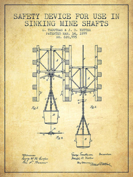 Shaft Wall Art - Digital Art - Mine Shaft Safety Device Patent From 1899 - Vintage by Aged Pixel