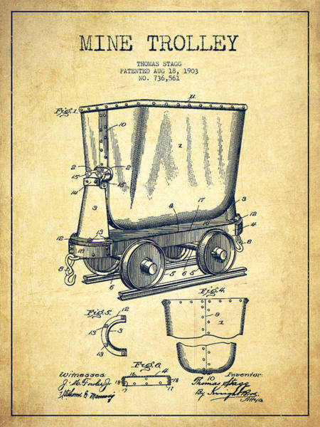 Gold Rush Wall Art - Digital Art - Mine Trolley Patent Drawing From 1903 - Vintage by Aged Pixel