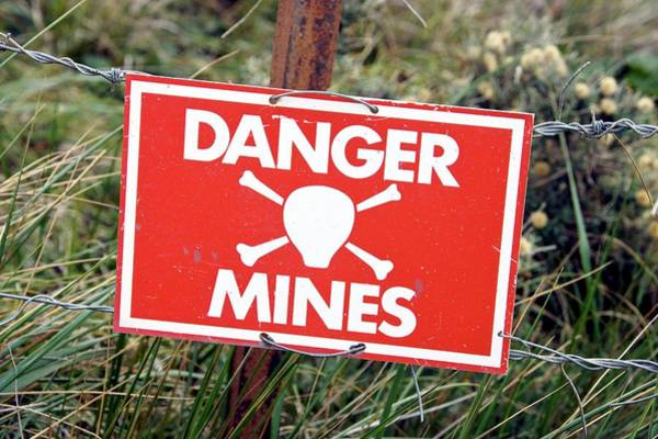 Wall Art - Photograph - Mine Warning Sign by Steve Allen/science Photo Library