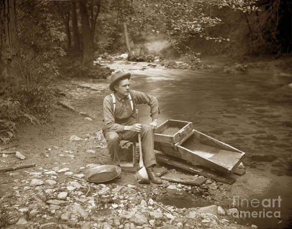 Photograph - Miner With Rocker And Gold Pan California Circa 1900 by California Views Archives Mr Pat Hathaway Archives