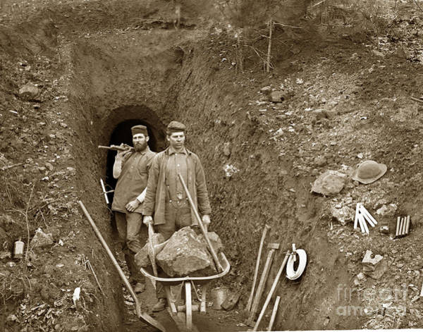 Photograph - Miners By Mine Shaft Opening California Circa 1900 by California Views Archives Mr Pat Hathaway Archives