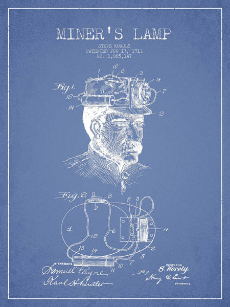 Gold Rush Wall Art - Digital Art - Miners Lamp Patent Drawing From 1913 - Light Blue by Aged Pixel