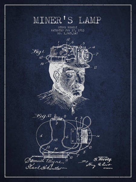 Gold Rush Wall Art - Digital Art - Miners Lamp Patent Drawing From 1913 - Navy Blue by Aged Pixel