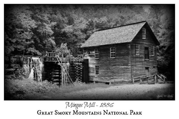 Millrace Wall Art - Photograph - Mingus Mill -- Black And White Poster by Stephen Stookey