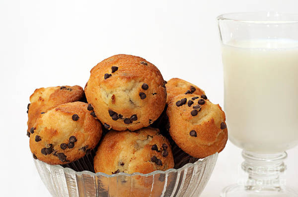 Photograph - Mini Chocolate Chip Muffins And Milk - Bakery - Snack - Dairy - 3 by Andee Design