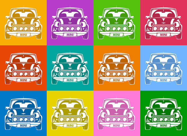 Wall Art - Digital Art - Mini Cooper Squares by Michael Tompsett