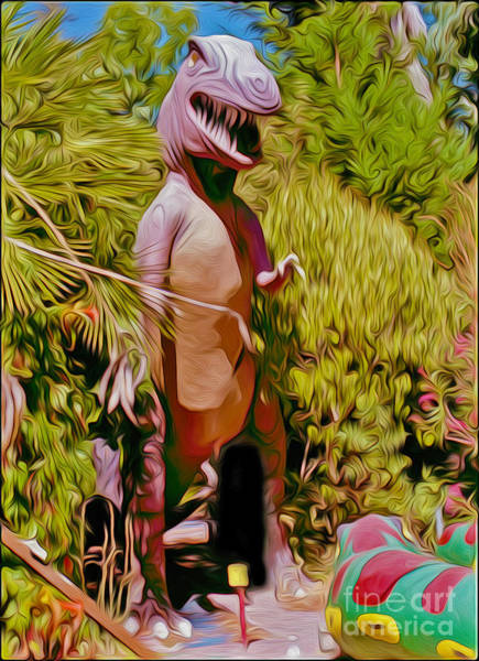 Painting - Mini-golf T-rex by Gregory Dyer