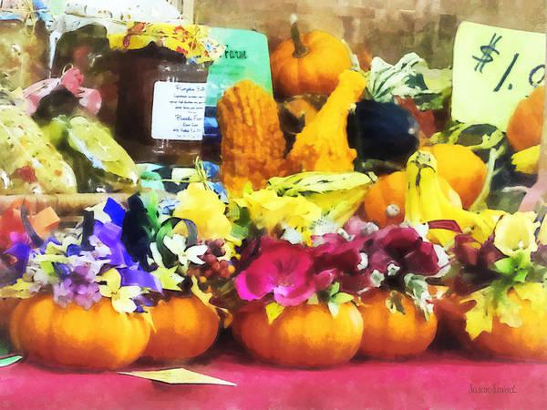 Photograph - Mini Pumpkins And Gourds At Farmer's Market by Susan Savad