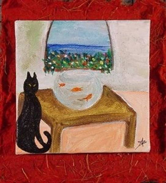 Painting - Miniature. Black Cat With Red Fishes by Antonella Manganelli