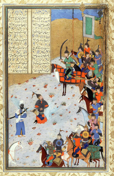 Horseman Photograph - Miniature Of The Bukhara School by Bodleian Museum/oxford University Images
