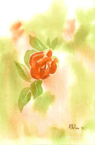 Wall Art - Painting - Miniature Red Rose In The Garden by Kip DeVore