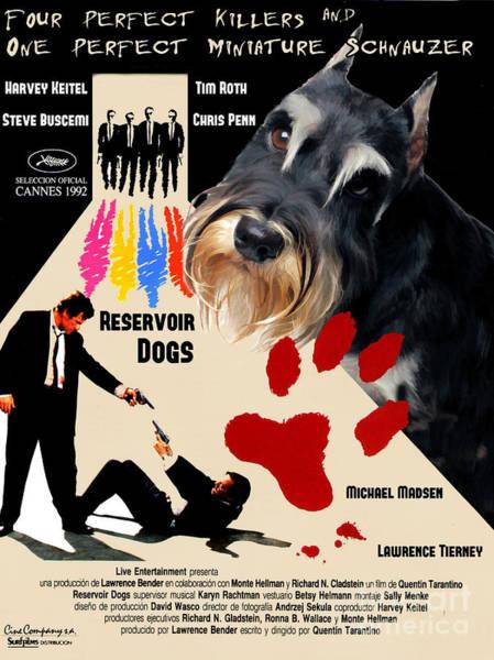 Reservoir Dogs Painting - Miniature Schnauzer Art Canvas Print - Reservoir Dogs Movie Poster by Sandra Sij