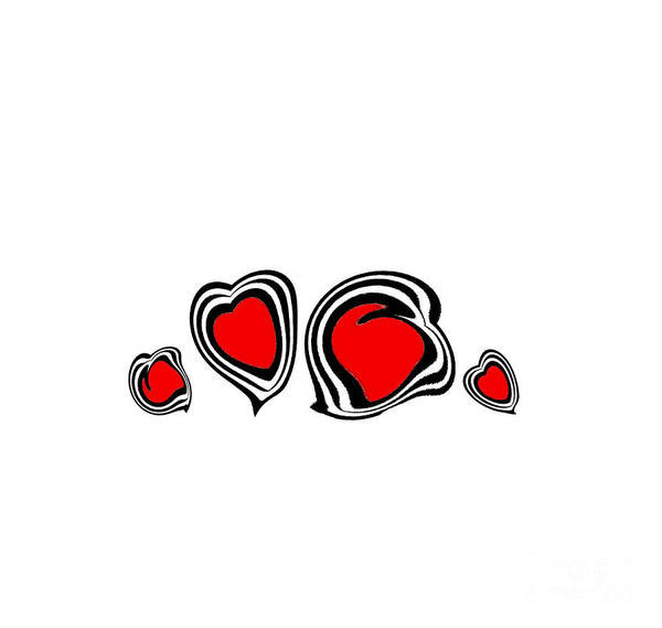 Respect Digital Art - Hearts Minimalism Black White Red Abstract Art No.105. by Drinka Mercep