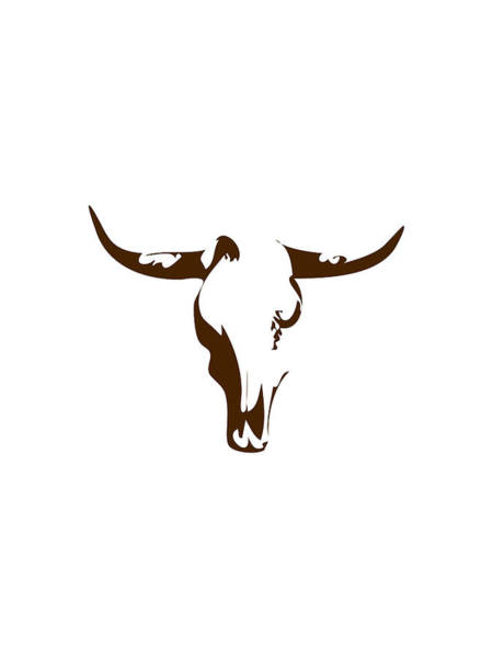Southwest Digital Art - Minimalist Bull Skull Poster by Celestial Images