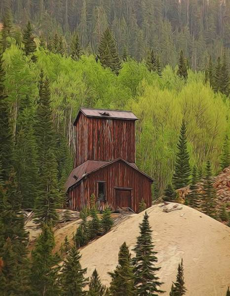 Silver And Gold Digital Art - Mining Building In Colorado by Dan Sproul
