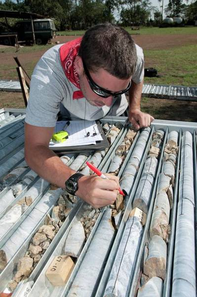 Core Photograph - Mining Core Samples by Phil Hill/science Photo Library