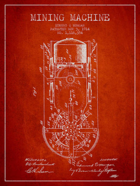 Gold Rush Wall Art - Digital Art - Mining Machine Patent From 1914- Red by Aged Pixel
