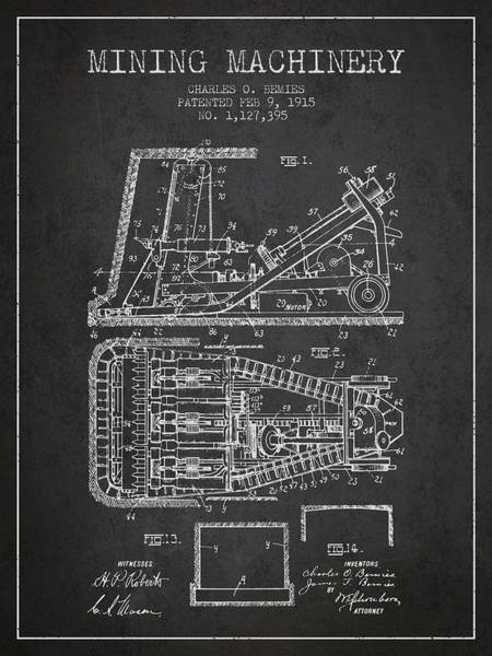 Gold Rush Wall Art - Digital Art - Mining Machinery Patent From 1915- Charcoal by Aged Pixel