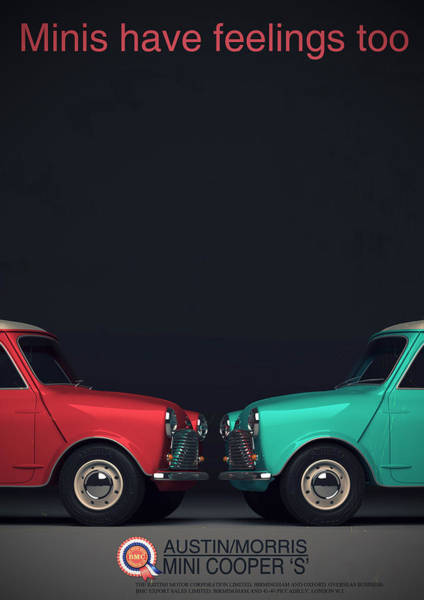 Mini Cooper Wall Art - Digital Art - Minis Have Feelings Too by Georgia Fowler