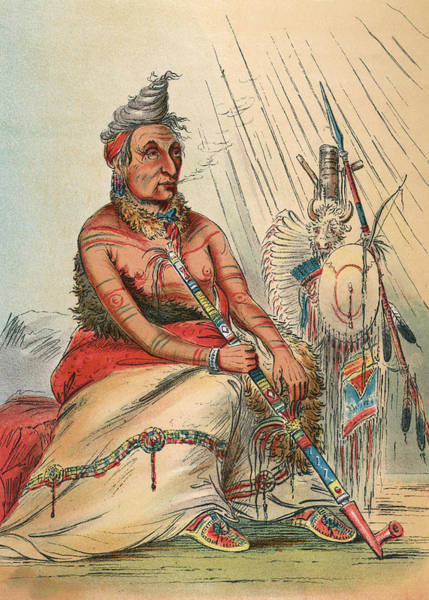 Wall Art - Drawing - Minitaree Chief, Smoking A Pipe by Mary Evans Picture Library