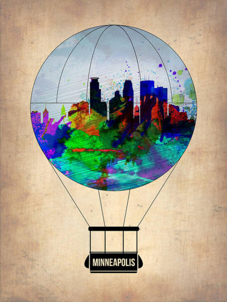 Tourist Painting - Minneapolis Air Balloon by Naxart Studio