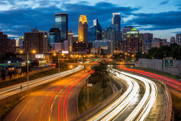 Skyline Trail Photograph - Minneapolis Light Trails by Mark Goodman
