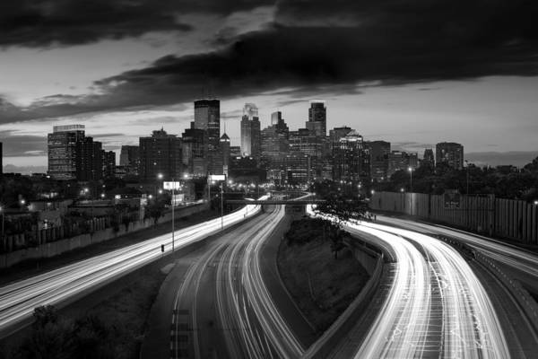 Minneapolis Photograph - Minneapolis  M N Skyline B W by Steve Gadomski