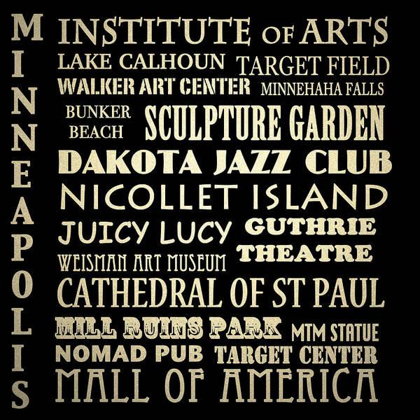 Minneapolis Digital Art - Minneapolis Minnesota Famous Landmarks by Patricia Lintner