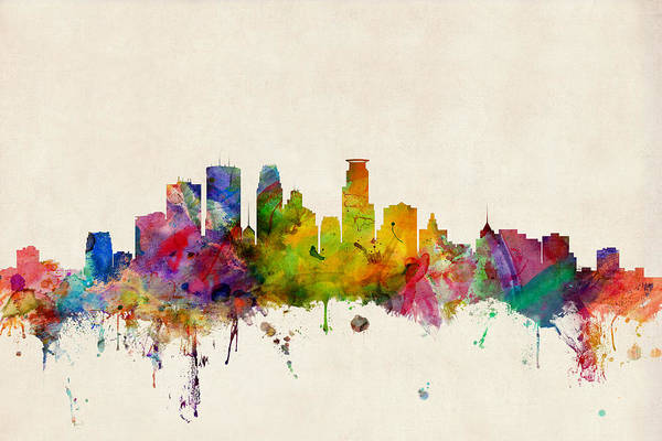 Watercolours Wall Art - Digital Art - Minneapolis Minnesota Skyline by Michael Tompsett