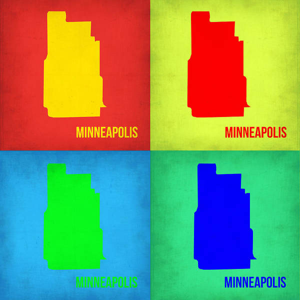 Minneapolis Painting - Minneapolis Pop Art Map 1 by Naxart Studio