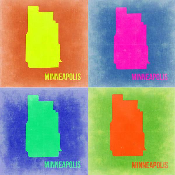 Minneapolis Painting - Minneapolis Pop Art Map 2 by Naxart Studio
