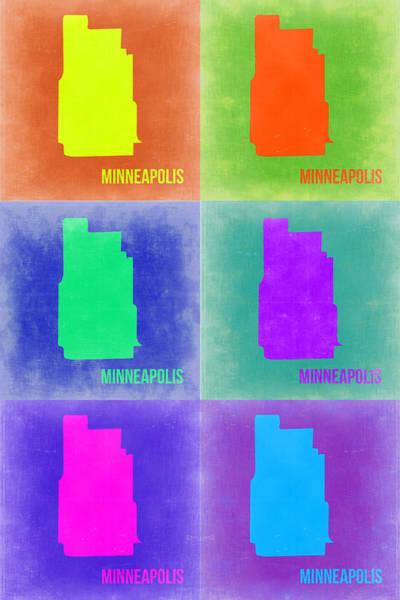 Minneapolis Wall Art - Painting - Minneapolis Pop Art Map 3 by Naxart Studio