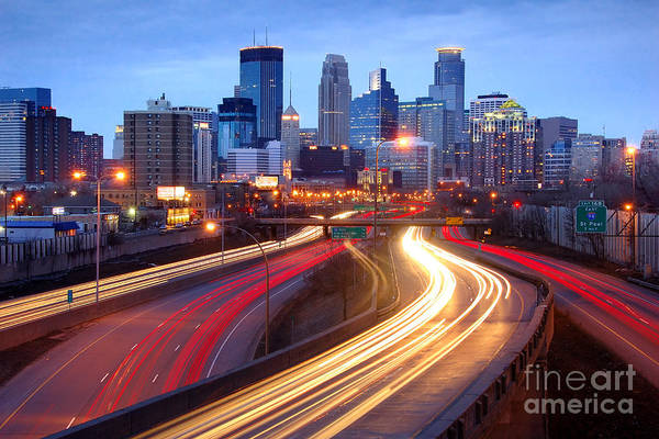 Minneapolis Photograph - Minneapolis Skyline At Dusk Early Evening by Jon Holiday