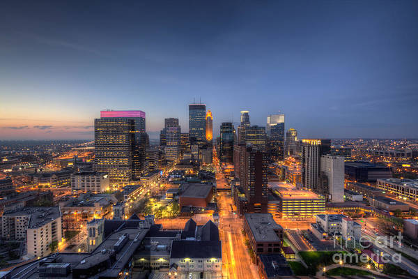 Minneapolis Photograph - Minneapolis Skyline At Night by Wayne Moran