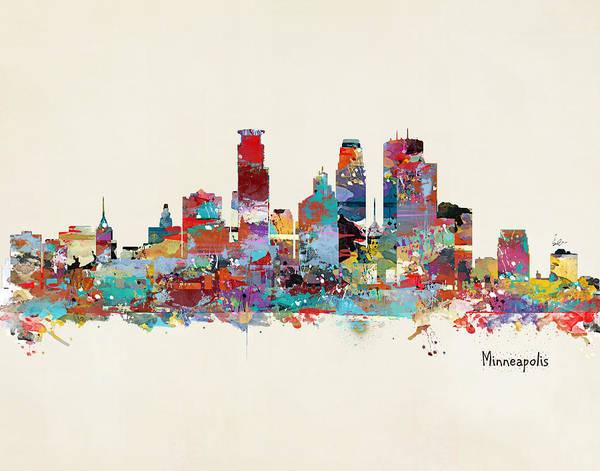 Minneapolis Wall Art - Painting - Minneapolis Skyline by Bri Buckley