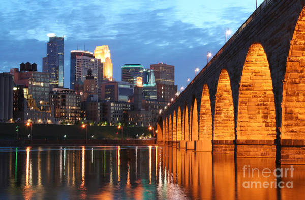 Photograph - Minneapolis Skyline Photography Stone Arch Bridge by Wayne Moran