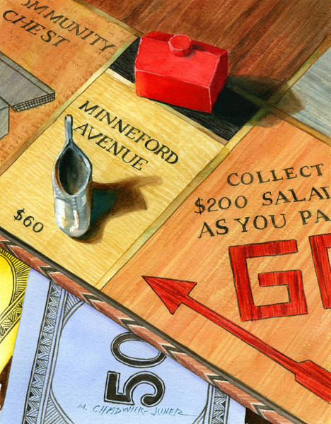 Avenue Painting - Minneford Monopoly by Marguerite Chadwick-Juner