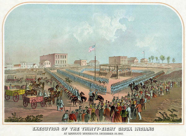 Scaffold Painting - Minnesota Execution, 1862 by Granger