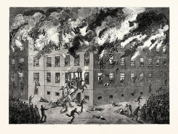 Minnesota Drawing - Minnesota Fatal Burning Of The Insane Asylum At St by American School