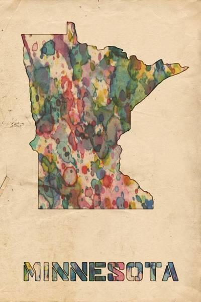 Painting - Minnesota Map Vintage Watercolor by Florian Rodarte