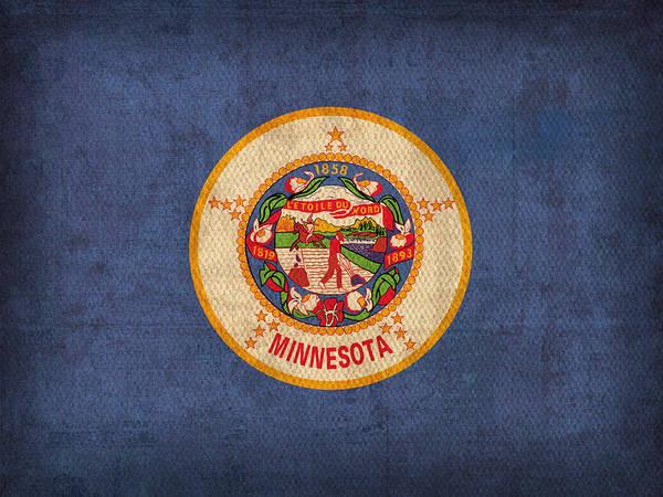Catholic Mixed Media - Minnesota State Flag Art On Worn Canvas by Design Turnpike