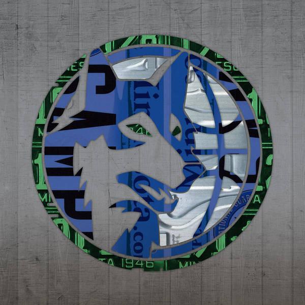 Wall Art - Mixed Media - Minnesota Timberwolves Basketball Team Retro Logo Vintage Recycled Minnesota License Plate Art by Design Turnpike