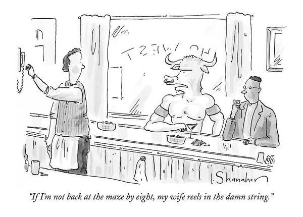 December 12th Wall Art - Drawing - Minotaur At Bar Talking To Bartender Reaching by Danny Shanahan