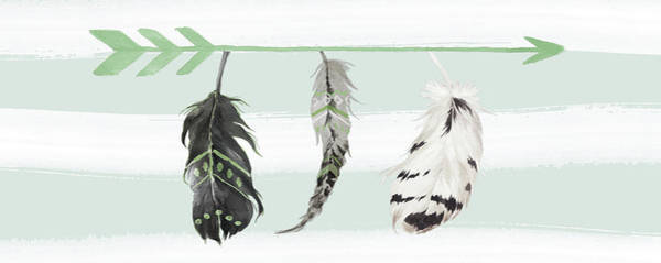 Wall Art - Painting - Mint Feathers And Arrow by Tara Moss